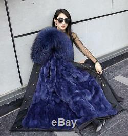 New Winter Long Parka Warm Jackets Women Large Raccoon Fur Collar & Lined Coat