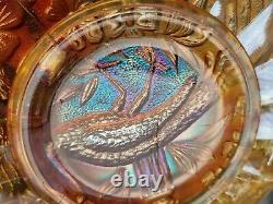 Nice Marigold Northwood Carnival Glass Peacock & Urn Large Ice Cream Bowl