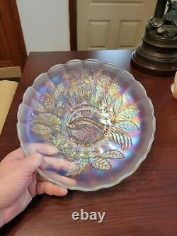 Northwood Carnival Glass White Peacock & Urn Large Ice Cream Bowl