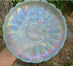 Northwood Peacock And Urn Large Ice Cream Bowl Ice Blue Carnival Glass pink irid