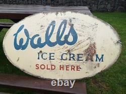 Original Vintage Walls / Wall's Ice Cream Sign, Metal, Large, Fabulous Patina