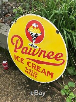 Pawnee Ice Cream Large, Heavy Double Sided Porcelain Sign (30 Inch) Nice Sign