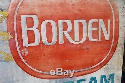 RARE 1950's LARGE BORDEN MILK & ICE CREAM EMBOSSED METAL SIGN COW ELSIE DAIRY 66