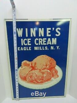 RARE WINNE'S ICE CREAM NY Vintage Large 28X20 Inch Double Sided Heavy Metal Sign