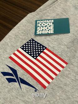 REEBOK x BBC BILLIONAIRE BOYS CLUB PHARRELL USA FLAG SWEATPANTS HEATHER GREY LRG