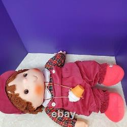 Rare 1980s Ice Cream Doll Boy Overalls Necklace Vintage Large 24 Hat Plaid
