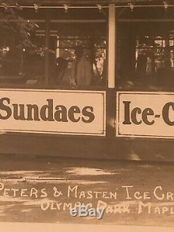 Rare Large 1930 Olympic Amusement Park Photo Ice Cream Pavilion Maplewood, NJ