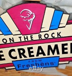 Rare Large Freshens Ice Cream Hanging Lighted Sign, New In Crate, Double-sided