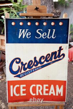Rare Large Vintage Metal Crescent Ice Cream Sign Red White & Blue 20 by 27¾