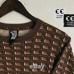 Rare OG BBC Billionaire Boys Club Ice Cream Chocolate Allover Waffle Tee Shirt L