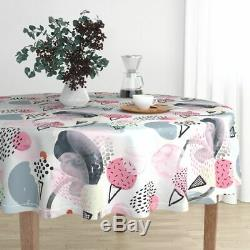 Round Tablecloth Abstract Ice Cream Memphis Style Pink Pastel Cotton Sateen