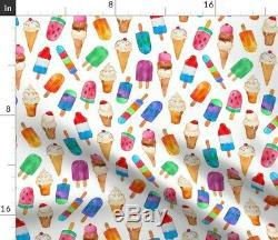 Round Tablecloth Ice Cream Food Watercolor Summer Cones Yummy Cotton Sateen