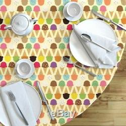 Round Tablecloth Ice Cream Yellow Summer Sweet Desserts Cone Cotton Sateen