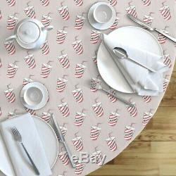 Round Tablecloth Icecream Milkshake Grey Red Cup Junk Food Novelty Cotton Sateen
