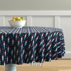 Round Tablecloth Novelty Pops Summer Dessert Party Navy Icecream Cotton Sateen