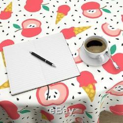 Round Tablecloth Summer Apple Pink Jumbo Ice Cream Fruit Cotton Sateen