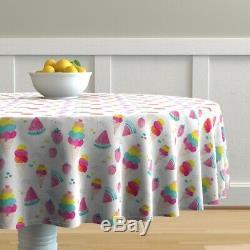 Round Tablecloth Watermelon Strawberry Ice Cream Melon Fruit Cotton Sateen