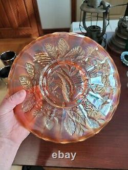 STIPPLED Marigold Northwood Carnival Glass Peacock & Urn Large Ice Cream Bowl