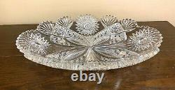 Signed Hawkes ABP Cut Glass Large ICE CREAM Tray in CHRYSANTHEMUM PATTERN