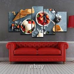 Strawberry Ice Cream Kitchen 5 panel canvas Wall Art Home Decor Print Poster