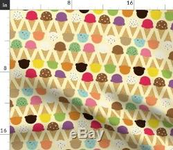 Tablecloth Ice Cream Yellow Summer Sweet Desserts Cone Novelty Cotton Sateen