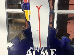 Ultra RARE LARGE 45 Vintage ACME ICE CREAM Country Store Die cut Porcelain Sign