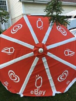 Umbrella Beach 8 Ice Cream Vintage Vendor Cart Patio Good Humor Large Sun Shade