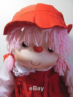VINTAGE 1980s ONE (1) LARGE RED PINK ICE CREAM GIRL DOLL SOFT PLUSH TOY NEW