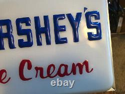 VINTAGE LARGE ELECTRIC LIGHT-UP HERSHEY'S ICE CREAM ADVERTISING CLOCK Excellent