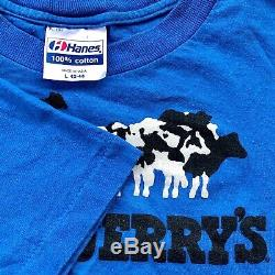 VTG 1985 BEN & JERRYS Vermont's Finest Ice Cream Cow T-Shirt Nike Chunky Dunky