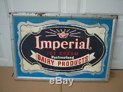Vintage 1930's Imperial Ice Cream Dairy Products Embossed Metal Sign Large 38