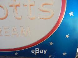Vintage 1959 steel Abbots Ice Cream NY parlor large metal sign dairy advertising