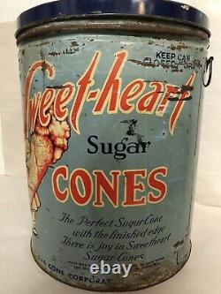 Vintage 30s-40s Sweet-Heart Ice Cream Sugar Cones Tin 300 Count Large 15 Can
