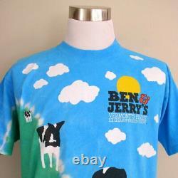Vintage 90s Liquid Blue Ben & Jerrys Ice Cream Tie Dye Tee All Over Print Tshirt