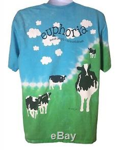 Vintage Ben And Jerry's Euphoria Tie Dye Cow T-Shirt Ice Cream Men's Large