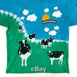 Vintage Ben And Jerry's Euphoria Tie Dye Cow T-Shirt Ice Cream Mens Large