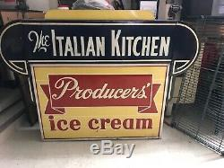Vintage Double Sided Restaurant Sign Italian Kitchen Producers Ice Cream LARGE