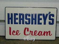 Vintage Hershey's Ice Cream Large Country Store Embossed Metal Sign 45 x 29