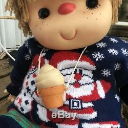 Vintage Ice Cream Doll Boy with Cone Necklace Large J Shin Co Hong Kong 25 80s