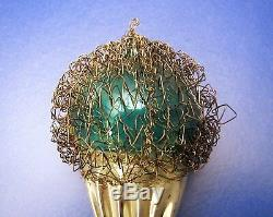 Vintage LARGE Ice Cream Cone Wire Wrapped Glass Christmas Ornament GREEN