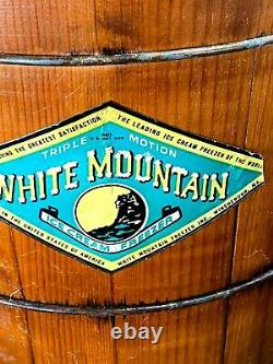 Vintage LARGE White Mountain Ice Cream Freezer Maker Hand Crank / 8 Quart