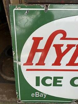 Vintage Large Hydrox Ice Cream Porcelain Double Sided Verbrite Sign