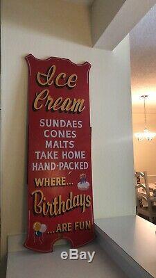 Vintage Large Painted Wood Ice Cream Store Sign Folk Art