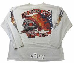 Vintage Mens Ice Cream Man From Hell Motorcycle Long Sleeve T-shirt Large White