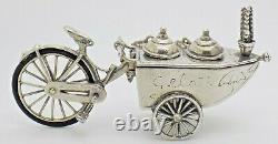 Vintage Solid Silver Italian Made LARGE Ice Cream Cart Figurine Hallmarked