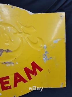 Vintage Very Large Embossed Metal Hendlers The Velvet Kind Ice Cream Sign