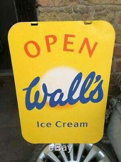 Vintage Walls Ice Cream Large Metal Advertising Shop Sign A frame 50x70cm 80's
