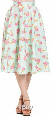 Voodoo Vixen Amy Floral Ice Cream Print Skirt Green