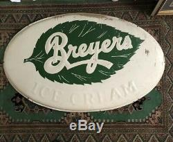 Vtg Antique 40s 50s Breyers Ice Cream Sign Large 50 Country Store Soda Fountain