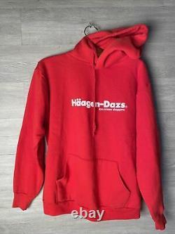 Vtg HAAGEN-DAZS Ice Cream Red Hoodie Sweatshirt Russell Made USA Pullover